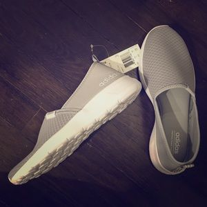 Women's Grey Cloudfoam Adidas Slip On Shoe